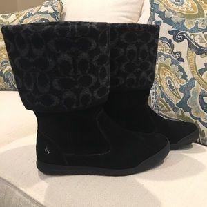 NEW Coach Black Suede Tatum Boots Size 8
